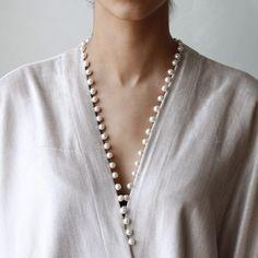Velvet Pearl Bisht by Salwar Neck Designs, Kurta Neck Design, Neck Designs For Suits, Sleeves Designs For Dresses, Blouse Back Neck Designs, Neckline Designs, Kurta Designs Women, Sleeve Designs, Kurta Patterns