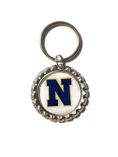 Navy Bottle Cap Keychain Back The Blue by CleverCreationsByMe
