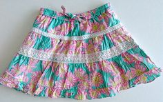 Lilly Pulitzer Tiered Ruffled Lace Skirt Lined Cotton Floral Girls Kids Size 4 #LillyPulitzer