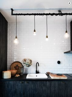lights and gorgeous countertop