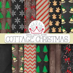Christmas Digital Paper Cottage Christmas by royaldigitalstore, $4.80 #scrapbooking #Christmas #xmas #holiday #digital #paper #green #red #cards #invitations #printables #download #shabby #cottage #wood #chalkboard