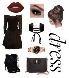 """Dark night"" by michellefernandez0902 ❤ liked on Polyvore featuring JustFab, Ted Baker, Miss Selfridge, Vera Wang, Michael Kors and Lime Crime"