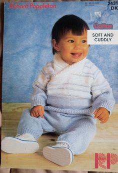 Baby/Toddler Sweater & Trousers Poppleton 2431 knitting pattern DK yarn winter #RichardPoppleton