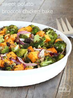Sweet Potato Broccoli Chicken Bake http://simplynourishedrecipes.com/sweet-potato-broccoli-chicken-bake/