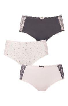 Primark - Pack de 3 braguitas altas con encaje Moda Hipster, Culottes, Plus Size Lingerie, Sensual, Underwear, Swimsuits, Boyshorts, Couture, Thongs