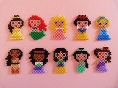 Disney princesses in Hama Beads Hama Disney, Perler Beads, Perler Bead Art, Fuse Beads, Bead Crafts, Diy And Crafts, Crafts For Kids, Arts And Crafts, Hama Beads Patterns