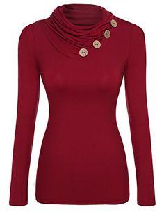 87c7c98784e Zeagoo Damen Rollkragen Langarmshirt Stretch Shirt Bluse Tunika mit  Knopfdetail  Amazon.de  Bekleidung. Kleidung ...