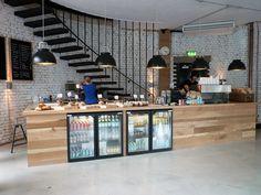 Fridges in counter cafe ideas in 2019 cafe counter, coffee counter, coffee shop Cafe Bar, Cafe Shop, Cafe Restaurant, Restaurant Design, Restaurant Interiors, Modern Restaurant, Coffee Shop Design, Cafe Design, Design Design