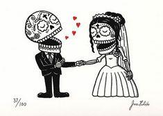 Las Catrinas de José Pulido | nUvegante Sugar Skull Tattoos, Sugar Skulls, Till Death, Memento Mori, Santa Muerte, Wedding Drawing, Tattoo Wedding, Pula, Mexican Skulls