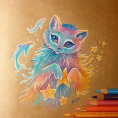 Discovered by Lyssali. Find images and videos about cute, art and cat on We Heart It - the app to get lost in what you love. Fantasy Drawings, Cool Art Drawings, Cute Animal Drawings, Art Sketches, Fantasy Art, Mythical Creatures Art, Fantasy Creatures, Cute Pokemon Wallpaper, Color Pencil Art