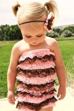 This is the cutest thing I have seen in a long time! Makes me want a little girl!!!! Light Pink and Brown Romper