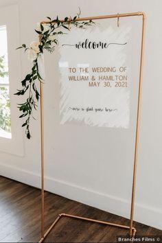 Gold modern wedding sign with calligraphy California Hair, California Wedding, Signature Cocktail, Wedding Signage, Wedding In The Woods, Wedding Website, Plan Your Wedding, Summer Wedding, Real Weddings
