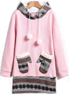 those pockets are something else!  Pink Hooded Deer Pockets Sweatshirt 20.00