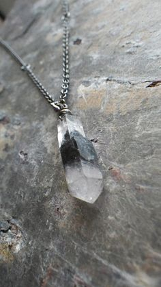 black crystal quartz in gunmetal #necklace #jewelry