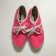 ❕Pink Sneakers❕ These are the cutest spring time sneakers EVER. I wore them a couple of times but they have lots of life left in them. They are marked as a size 8, but I think they would fit a 7.5 better! Since they were worn, there are some imperfections. Any questions, please ask! ❤️❤️ Forever 21 Shoes Sneakers