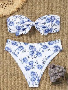 1e80a78479 Plus Size Bowknot High Cut Bandeau Bikini
