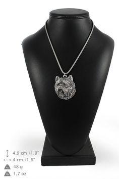 NEW Cairn Terrier dog necklace silver chain by ArtDogshopcenter