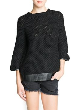 Faux leather wool sweater at Mango