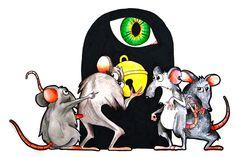 RATONCITOS : Juntaronse los ratones para librarse del gato; y despues de largo rato de disputas y opiniones. dijieron que acertarian en ponerle un cascabel, que andando el gato con el, librarse mejor podrian. salio un raton barbicano, colilargo, hocicorromo, y encrespando el grueso lomo dijo al senado romano, desues de hablar culto un rato: ¿quien de todo ah de ser el que se atreva a poner ese cascabel al gato?   #ilustracion #pint #raton #ratones #jakewatter