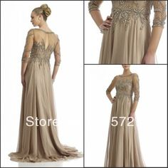 New Arrival 2014 Three Quarter Sleeve Grey Chiffon Beading Mother Of The Bride Dress Evening Gown