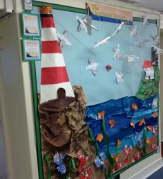 Lighthouse keepers lunch display - I used handprint fish, seagulls and hand and foot print lobsters.