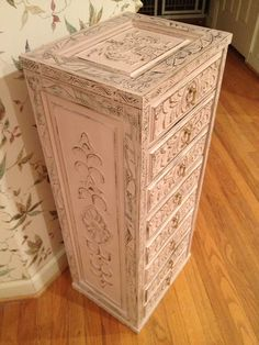 Carved 8-drawer chest, painted in Annie Sloane's Antoinette chalk paint, with a lot of focused distressing to bring out the carved designs.