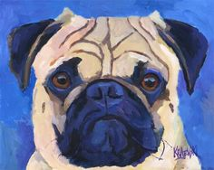 Pug Art Print of Original Acrylic Painting  11x14 door dogartstudio