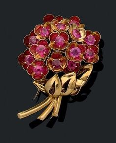 #Cartier #Gold #Ruby #Floral #Brooch #Pins #jewellery