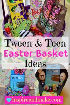 Pre-teen, tween, teen Easter Basket Ideas that are creative, fun, and would be sure to surprise. crafts for teenagers Tween and Teen Easter Basket Ideas Easter Crafts For Kids, Easter Gift, Easter Treats, Easter Food, Easter Dinner, Easter Party, Easter Eggs, Easter Table, Easter Decor