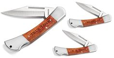 """These are great personalized gift items. Perfect gift for the man in your life!Each knife comes with up to10 letterscustom engraved name or initials. Pick from 7 different font options - English Script, Victoria, Garamond, Futura, Claredon, Old English, Roman HollowQuality product at a great price!WOODSMAN%0AUp to 10 letters on the Woodsman, 7 Fonts to choose from.The knife measures 7 1/2"""" when open and 3 1/2"""" closed.This rugged pocket knife features a stainless steel locking blade that…"""