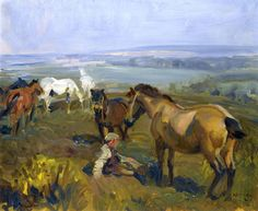Alfred James Munnings (British painter) 1878 - 1959  On Exmoor, ca. 1940  oil on canvas  51 x 61 cm. (20 x 24 in.)
