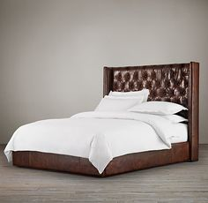 """56"""" Adler Tufted Platform Bed Leather (83""""W x 86""""L x 56""""H)"""