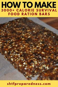 How to Make 3000 Calorie Survival Food Ration Bars - Having a small bar with this many calories is a fantastic idea. These are light weight and can see you through weeks of no food if you find yourself in an emergency! Survival Life, Survival Prepping, Survival Skills, Survival Quotes, Survival Gear, Wilderness Survival, Survival Weapons, Survival Stuff, Survival Shelter