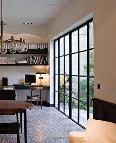 Terrazzo floors. Steel doors.
