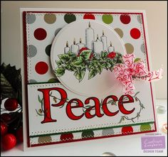 """Project by Giovana Smith. Sheena A Little Bit Festive """"Peace set""""  Scored White Card 6""""x6"""". Ultra Smooth Premium White Cardstock. Candy Red Shimmering Cardstock. Forest Green Shimmering Cardstock.  Die'sire Circle Dies.  Spectrum Noir Markers used: Candles: IG2. Flames: LY2, GB5. Leaves: LG2, LG3, DG2, DG4. Flowers: CR3, CR8, DR1.  Peace sign: CR7, CR8, DR2, DR5,  Leaves and dots: LG3, DG2, GB4, TN3.  Ultimate Tool (to make the bow). @Crafter's COmpanion US, #spectrumnoir"""