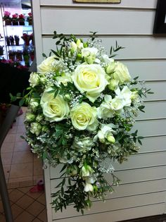 white rose & crystal bridal shower bouquet - perfect for winter weddings