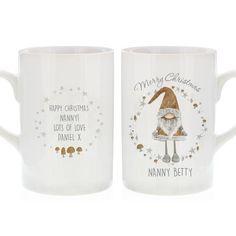 Personalised Scandinavian Christmas Gnome Slim Mug Personalized Christmas Mugs, Personalized Mugs, Christmas Gnome, Scandinavian Christmas, Gnomes, Slim, Ceramics, Tableware, Mugs
