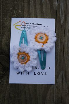 Daisy Crochet Hair Clips with Button middles by MadebyMessymuppet, £3.50