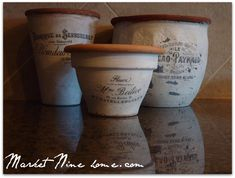DIY French flower pots ~ pots + Mod Podge + choose a free printable from Graphics Fairy Diy Projects To Try, Craft Projects, Craft Ideas, Project Ideas, Outdoor Projects, French Tutorial, Decoupage, French Flowers, Creation Deco