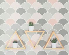 Blush Scallop Kids Wallpaper / Traditional or Removable Wallpaper L013
