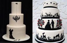 Comenzamos con los pasteles para boda que combinan el color blanco y negro, dos de los más elegantes y con temáticas llenas de fantasía y con un ligero guiño a la infancia.