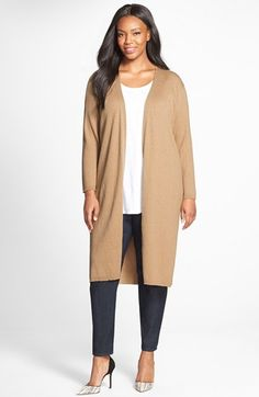 Vince+Camuto+Ribbed+Cotton+Blend+Maxi+Cardigan+(Plus+Size)+available+at+#Nordstrom