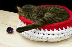 Super Bulky Crocheted Cat Bed--free pattern