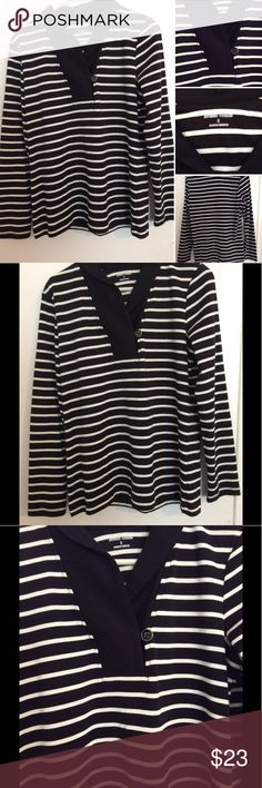 Studio works long sleeve top This studio works long sleeve top is in excellent new like condition. It has a black and white striped pattern with a solid black collar line. It's a size small and is a cotton blend. Comes from a smoke free home Studio Works Tops