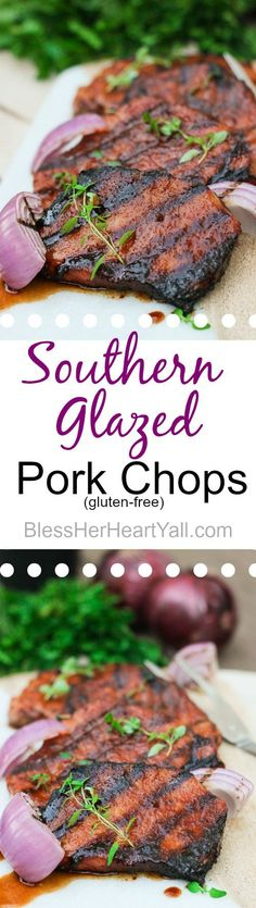 These gluten-free southern cayenne glazed pork chops are an easy recipe that combines the sweetness of brown sugar with the spiciness of cayenne pepper. A few minutes marinating and then quickly kissed on the grill, these southern glazed pork Pork Chop Recipes, Grilling Recipes, Meat Recipes, Cooking Recipes, Free Recipes, Cooking Pork, Paleo Recipes, Crockpot Recipes, Glazed Pork Chops