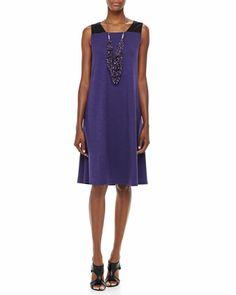Eileen Fisher Textured Striped Long Cardigan & Sleeveless Colorblock Jersey Dress - Neiman Marcus