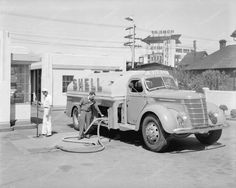 Shell Oil Truck Gas Station 1937 Vintage 8x10 Reprint Of Old Photo