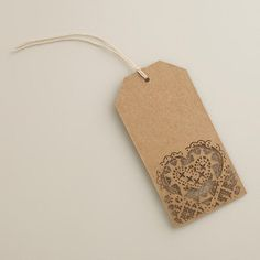 One of my favorite discoveries at WorldMarket.com: Laser-Cut Heart Kraft Gift Tags, Set of 4