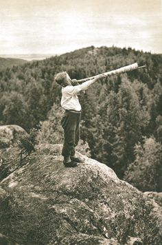 A photograph from Ukko-Koli. The photograph was used in Finnish tourism adverts with the text Finland calling. (Heinrich Iffman, 1934)
