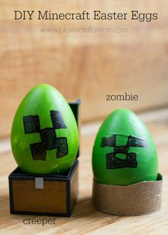 If you have a child who is a fan of the game Minecraft. Try having them decorate Minecraft themed Easter Eggs Minecraft Easter Eggs, Holiday Crafts, Holiday Fun, Easter Crafts For Kids, Easter Ideas, Easter Recipes, Easter Egg Designs, Holidays With Kids, Easter Party